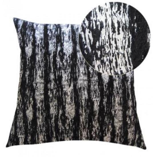 Dekorační polštář černo-stříbrný