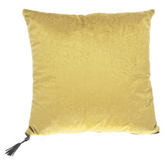 Dekorační polštář žlutý sametový