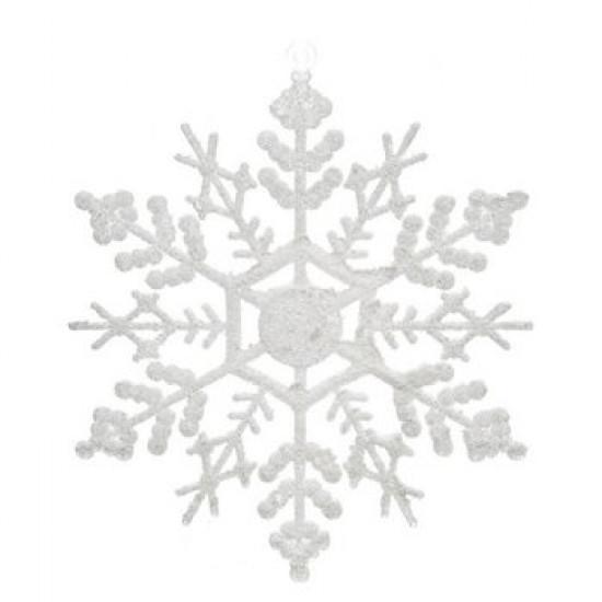Ozdoba akryl vločka bílá